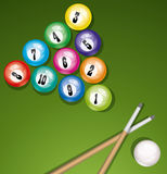 Vector billiard table with balls Royalty Free Stock Image
