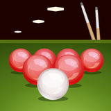 Vector billiard table with balls Stock Photos