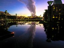 Billow of Clouds. Sunset with a billow of clouds hanging over the Mandara at Spa Walt Disney World Swan & Dolphin Hotel and Walt Disney World Dolphin Resort royalty free stock image