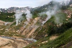 Billowing steam in the Valley of Geysers in Kamchatka Royalty Free Stock Photos