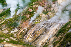 Billowing steam in the Valley of Geysers in Kamchatka Royalty Free Stock Images