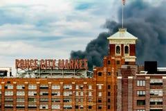 Billows of Smoke Rising from Interstate Collapse. Atlanta, Georgia / United States - March 30 2017 Smoke billows from the Interstate I-85 Collapse in Atlanta royalty free stock photography