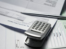 Bills. Clip on the bills waiting for payment Royalty Free Stock Image