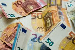 Euro bills in one screen royalty free stock photo