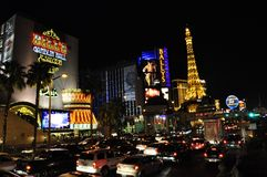 Bills, Ballys und Paris - Las Vegas, USA Stockbild