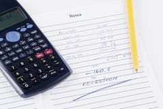 Bills calculation Royalty Free Stock Image