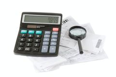 Bills calculation Royalty Free Stock Photo