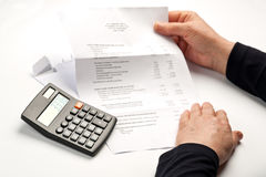 Bills and Calculations Stock Image