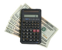 Bills with calculator Stock Photography