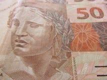 Brazilian money close up. Bills called Real. Economy of Brazil concept image. stock photos