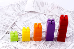 Bills with children blocks Stock Photo