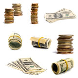 Bills and coins Royalty Free Stock Photos