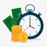 Bills coins and chronometer design Stock Photography