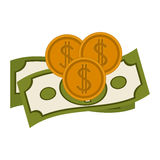 bills and coins design Royalty Free Stock Photo