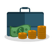 Bills coins and suitcase design. Bills coins and suitcase icon. Money financial item commerce market and payment theme. Silhouette design. Vector illustration Stock Photo