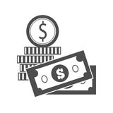 Bills and Coins Vector Illustration in Flat Design Royalty Free Stock Photos