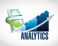Bills and color graph analytics illustration Royalty Free Stock Image
