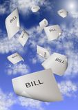 Bills and debt. A group of paper bills falling from the sky vector illustration
