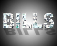 Bills Dollars Indicates Wealth Expenses And Costs Royalty Free Stock Photos