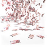 Bills from 10 Euro notes. And money rain Vector Illustration
