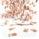 Bills from 10 Euro notes. Money rain of bills from 10 Euro notes Royalty Free Stock Photos