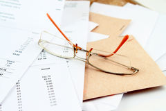 Bills and glasses Royalty Free Stock Photography