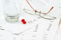 Bills and glasses Royalty Free Stock Image