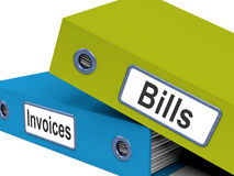 Bills And Invoices Files Show Accounting Stock Images