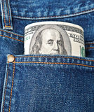 Bills in jeans Royalty Free Stock Photography