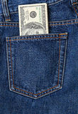 Bills in a jeans Stock Photos