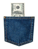 Bills in jeans pocket i Stock Photo