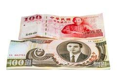 Bills of Korea and Taiwan Royalty Free Stock Photos
