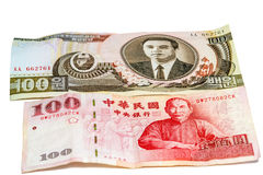 Bills of Korea and Taiwan Stock Photo