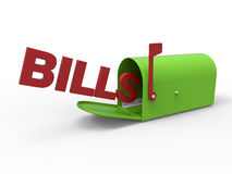 Bills in mailbox concept Stock Photos