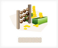 Bills with the money and coins A. Scores with lots of money and coins. Illustration Royalty Free Stock Photography