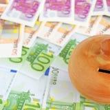 Bills and moneybox Royalty Free Stock Photos