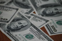 Bills of one hundred American dollars Royalty Free Stock Image