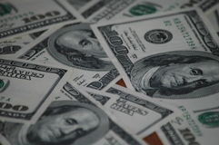 Bills of one hundred American dollars Royalty Free Stock Photo