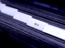 Bills Organized in Filings Tabs Stock Photos