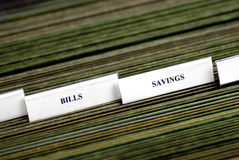 Bills Organized in Filings Tabs Stock Photo