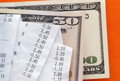 Bills over dollar banknotes Stock Photo