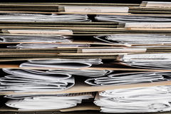 Bills Papers and statements. Stack of papers, bills, invoices and financial statements in files Stock Image