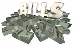 Bills Paying Invoice Money Owed Payment Cash Piles Stacks. 3D Royalty Free Stock Images