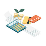 Bills and payments. Bills, credit cards and calculator: personal home finance, taxes and payments concept Stock Images