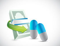 Bills and pills. health prices illustration design Royalty Free Stock Photos