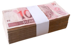 Bills, 10 Reais - Brazilian money. Royalty Free Stock Photos