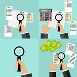 Bills, receipts set, a set of bills, utilities, magnifying glass in hand Royalty Free Stock Image