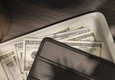 $100 bills restaurant tab royalty free stock images