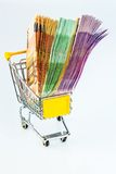 Bills in a shopping cart Royalty Free Stock Photo