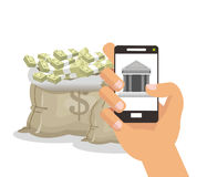 Bills smartphone businness and financial design Royalty Free Stock Images